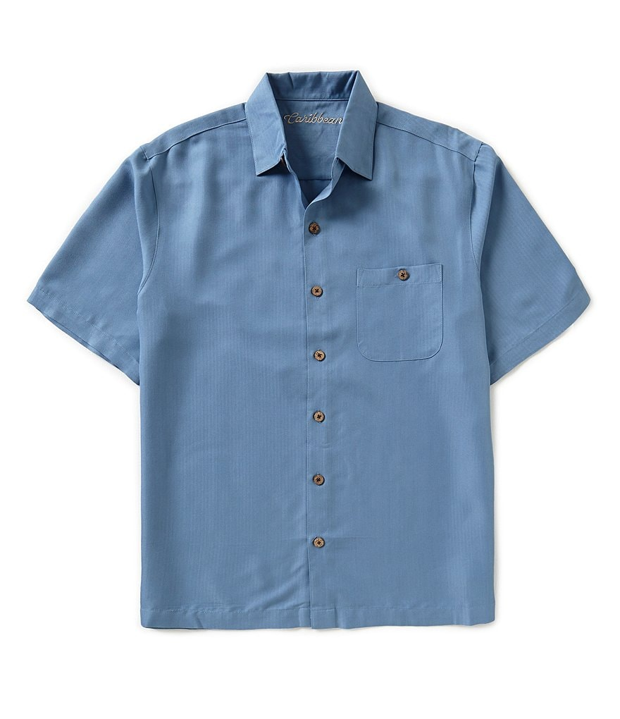 Caribbean Short-Sleeve Embroidered Camp Shirt