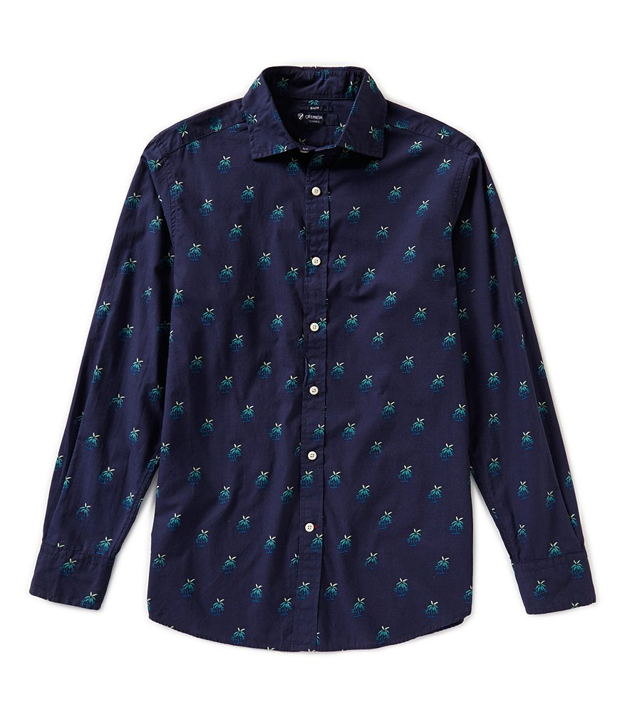 Cremieux Long-Sleeve Slim-Fit Palm Print Woven Shirt