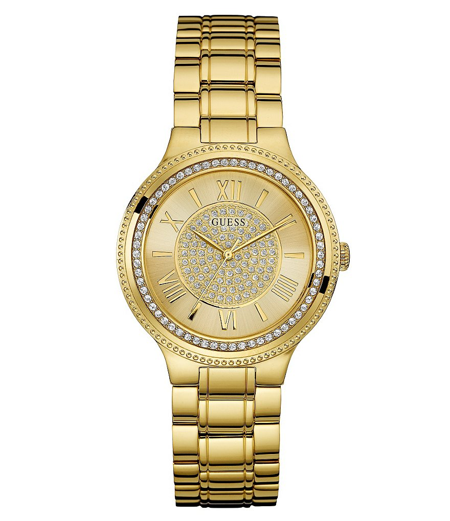 Guess Stainless Steel Crystal Accent Analog Bracelet Watch