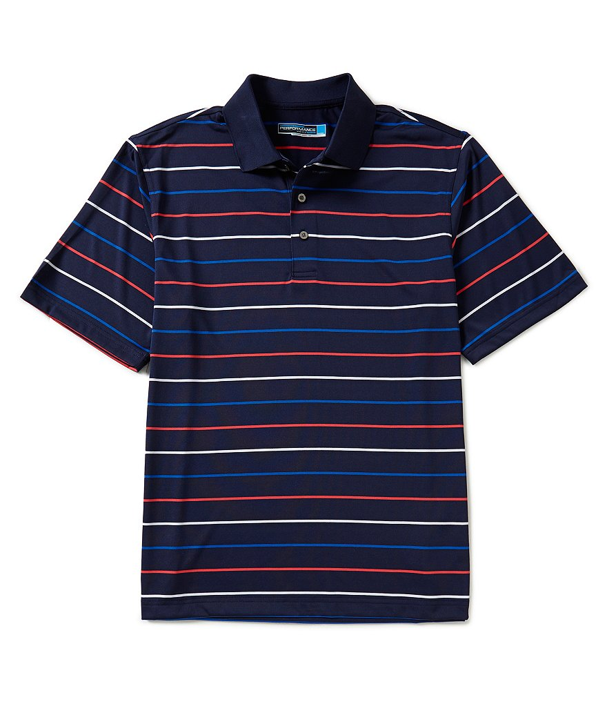 Roundtree & Yorke Performance Short-Sleeve Horizontal-Striped Polo Shirt
