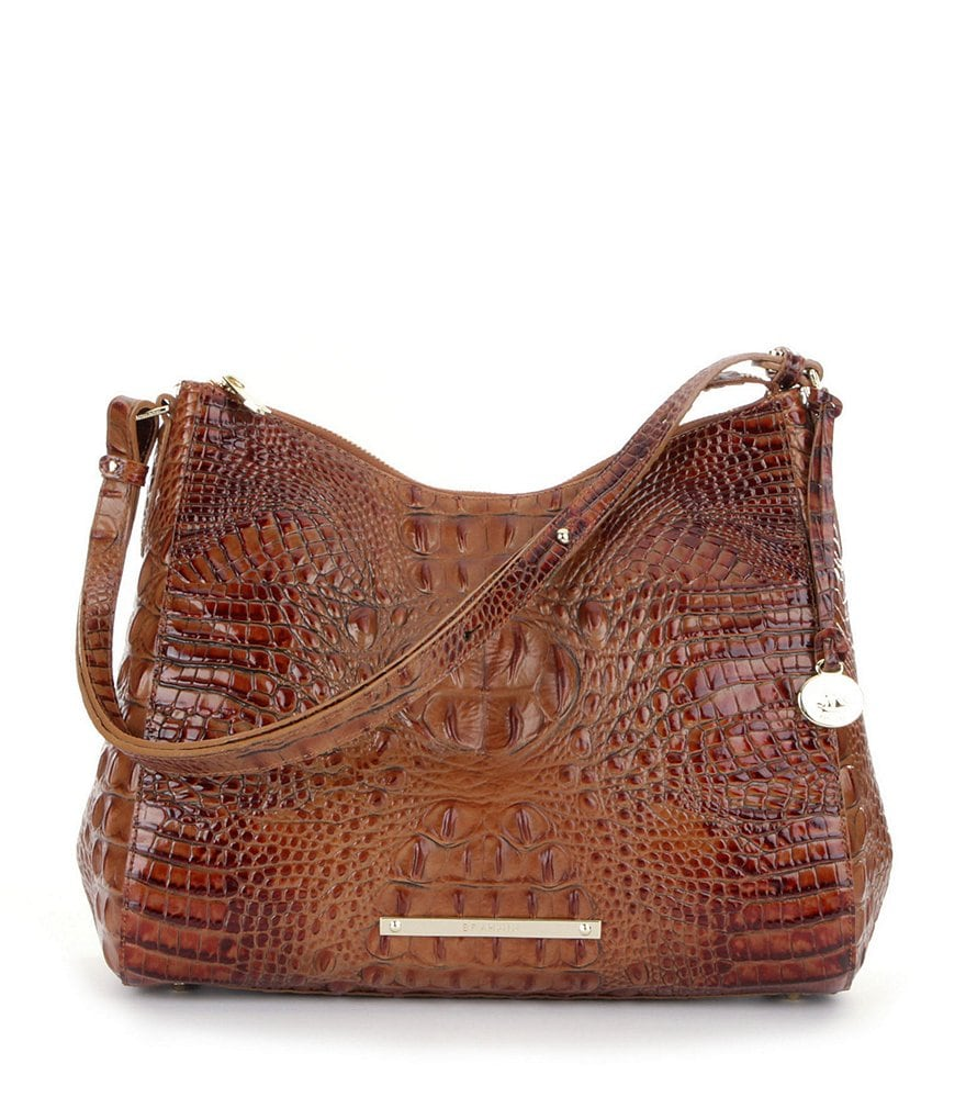 Brahmin Toasted Almond Collection Gracie Croco-Embossed Hobo Bag