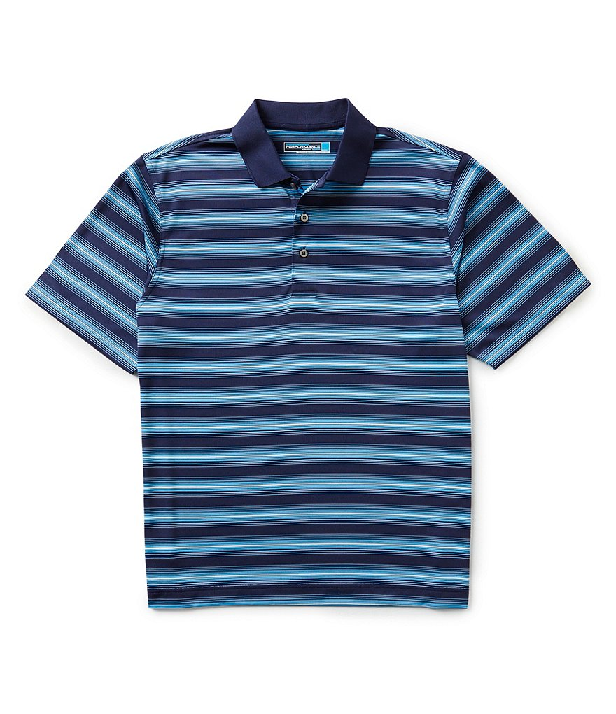 Roundtree & Yorke Performance Short-Sleeve Engineer Horizontal Striped Polo Shirt