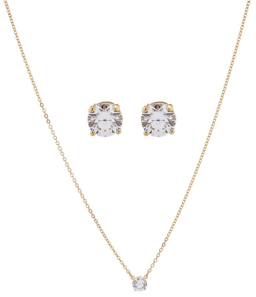 Swarovski Attract Round Pendant Necklace & Stud Earring Set