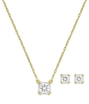 Swarovski Attract Square Necklace & Stud Earrings Set
