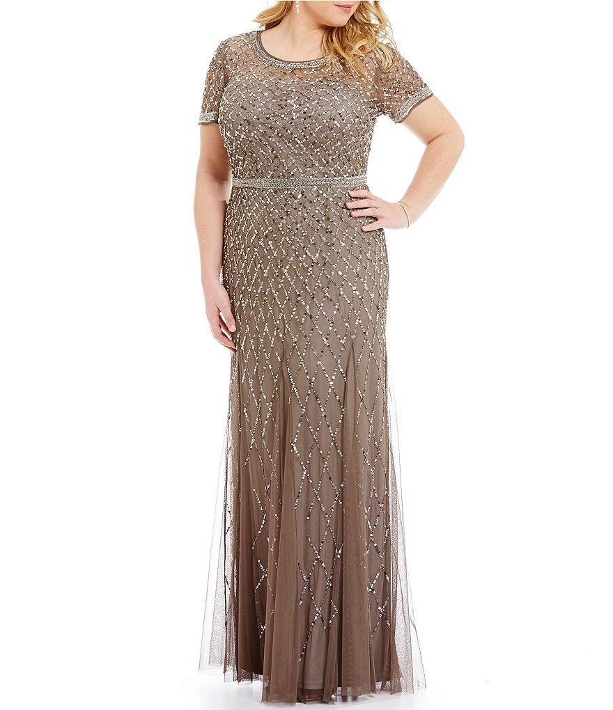 Adrianna Papell Plus Beaded Short Sleeve Gown