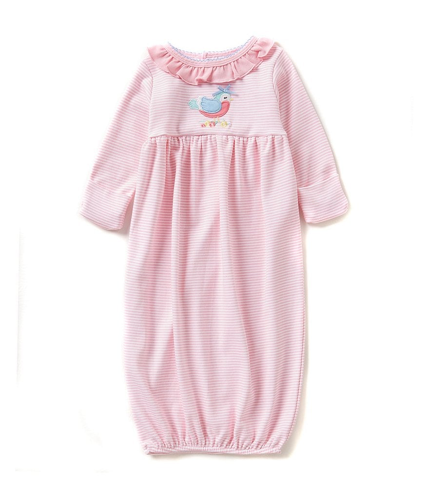 Starting Out Baby Girls 0-6 Months Bird-Applique Striped Gown