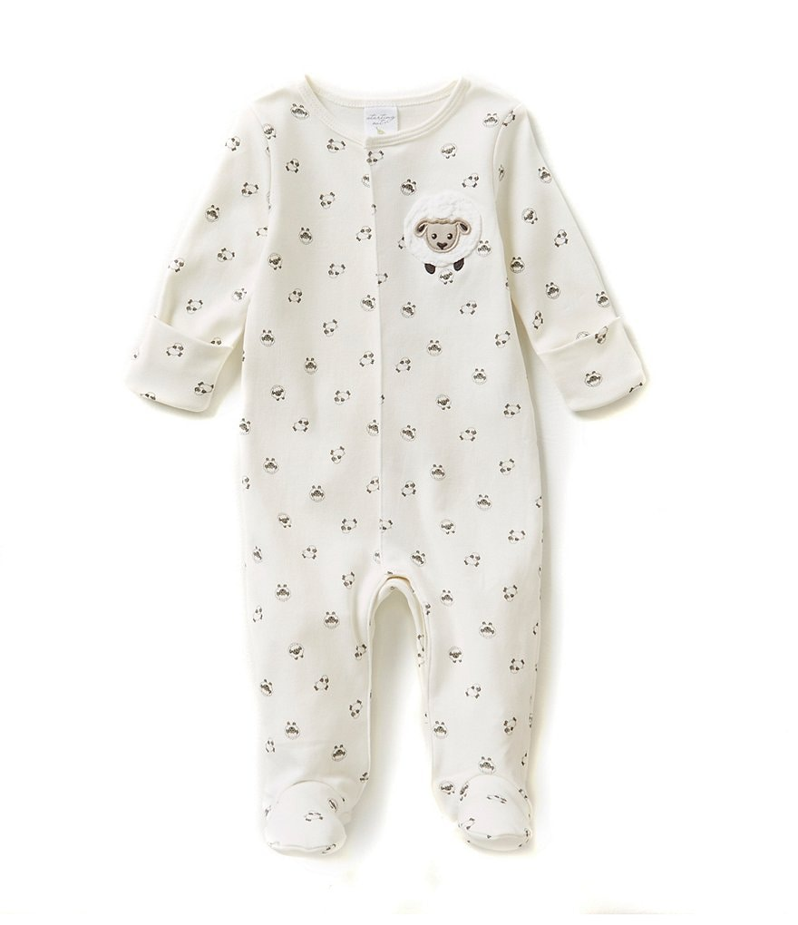 Starting Out Newborn-6 Months Lamb-Appliqued Footed Coveralls