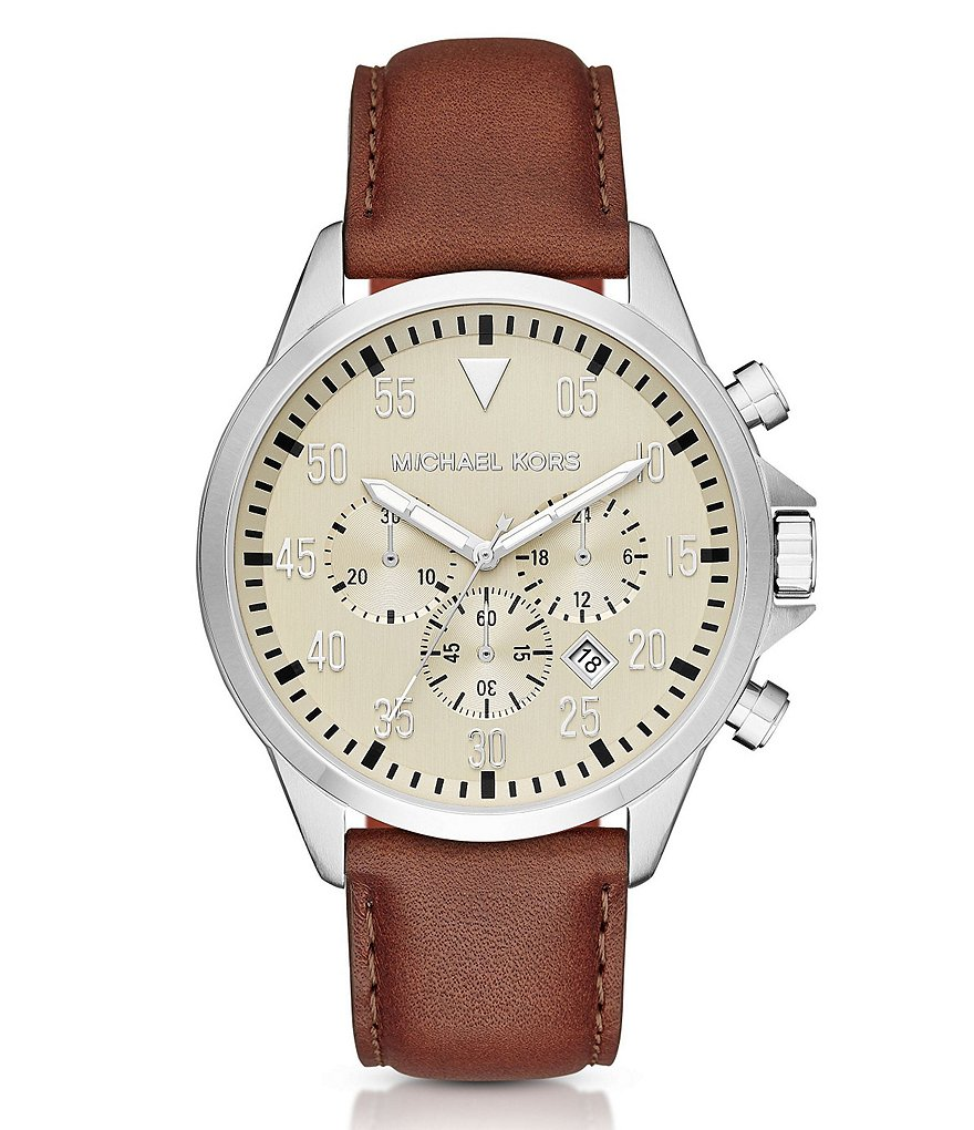 Michael Kors Men´s Stainless Steel Leather Strap Gage Chronograph Watch