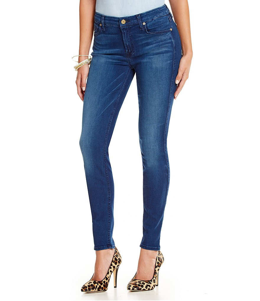 7 For All Mankind Mid Rise Skinny Jeans with Squiggle
