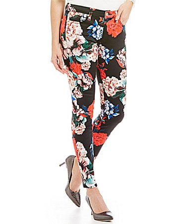 7 for All Mankind Peony Floral-Print Skinny Jeans