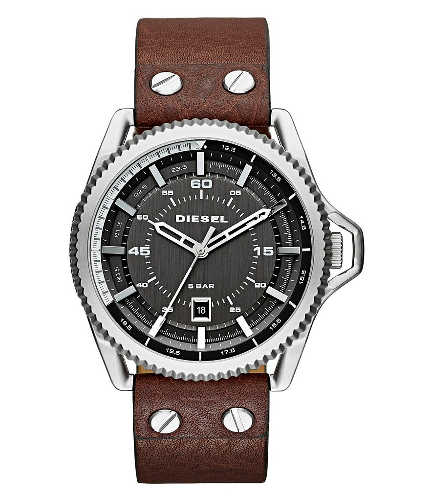 Diesel Rollcage Stainless Steel Brown Leather Strap 3 Hand Date Watch