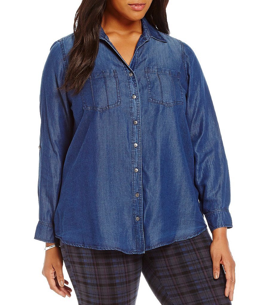 Intro Plus Ombre Denim Button Down Shirt
