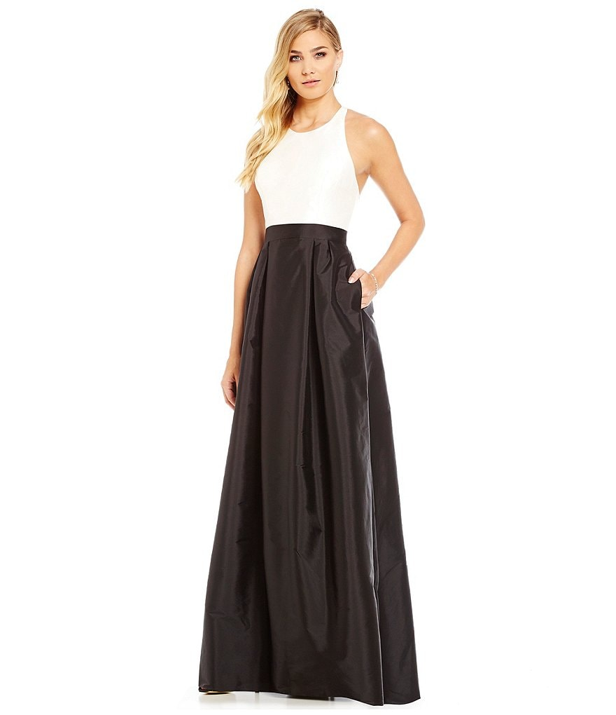 Adrianna Papell Sleeveless Taffeta Colorblock Gown