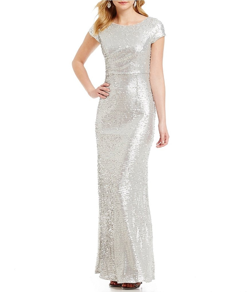 Adrianna Papell Short Sleeve Sequin Gown
