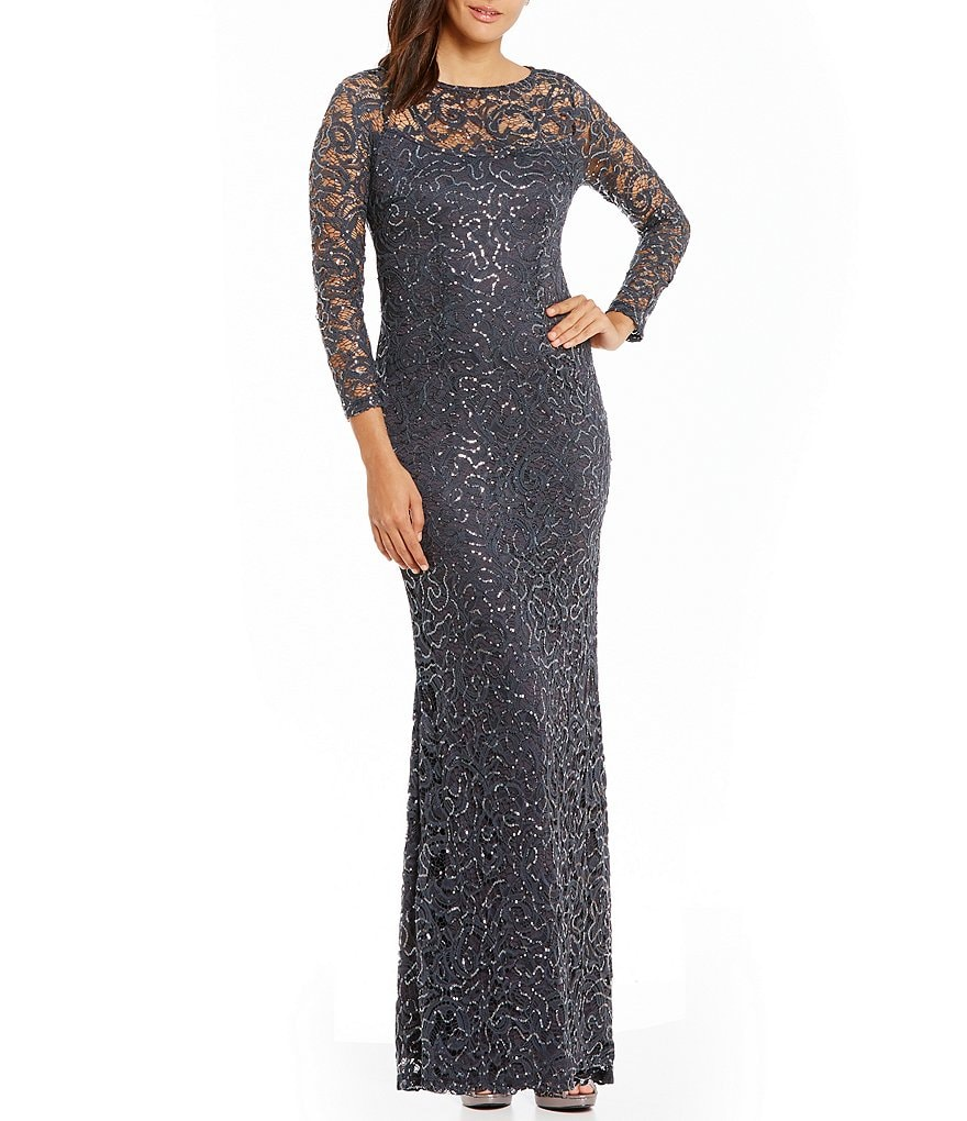 Marina Sequined Lace Long-Sleeve Illusion Gown
