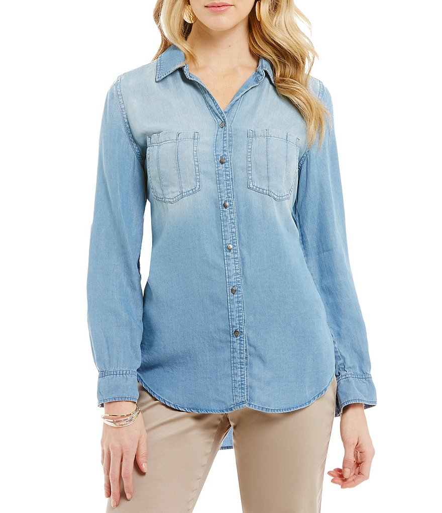 Intro Ombre-Denim Button Down Shirt