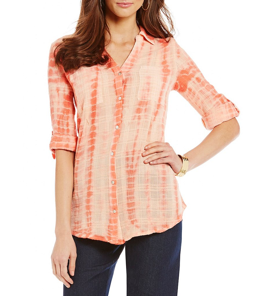 Intro Textured Gauze Rope Dye-Print Woven Blouse