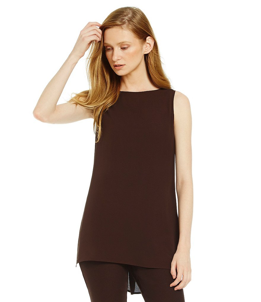 Eileen Fisher Bateau-Neck Long Hi-Low Shell