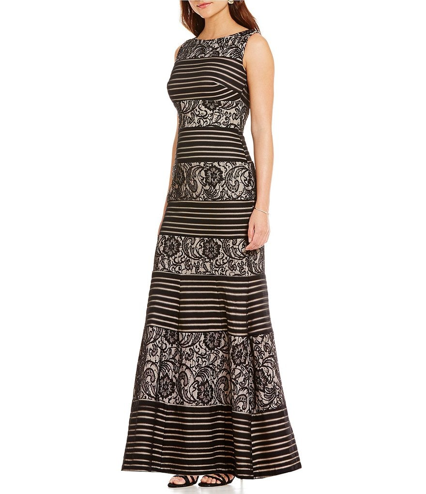 Sangria Illusion Lace Striped Sleeveless Mermaid Gown