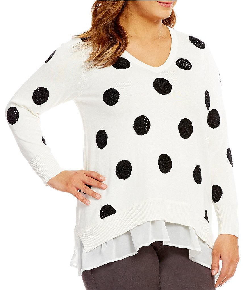 Chelsea & Theodore Plus Dot-Print V-Neck Sweater