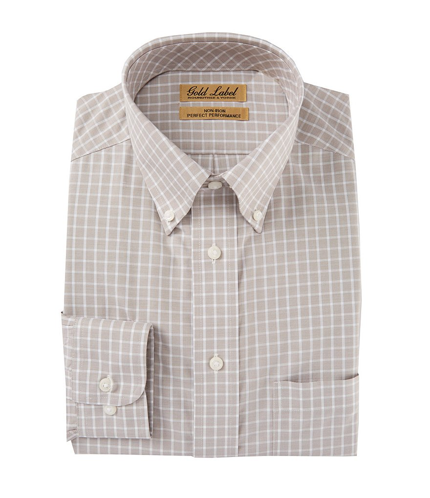 Gold Label Roundtree & Yorke Non-Iron Checked Button-Down Collar Sportshirt