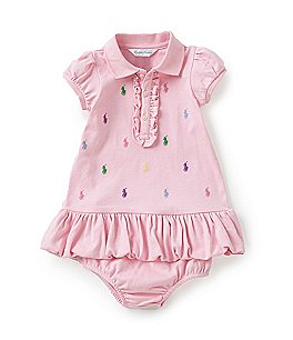 Ralph Lauren Childrenswear Baby Girls 3-24 Months Schiffli-Embroidered Dress Image