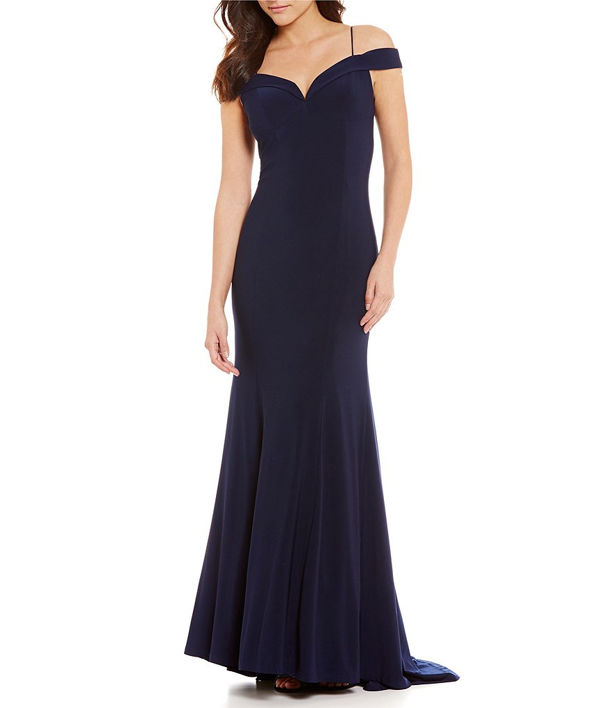 Adrianna Papell Cold Shoulder Mermaid Gown