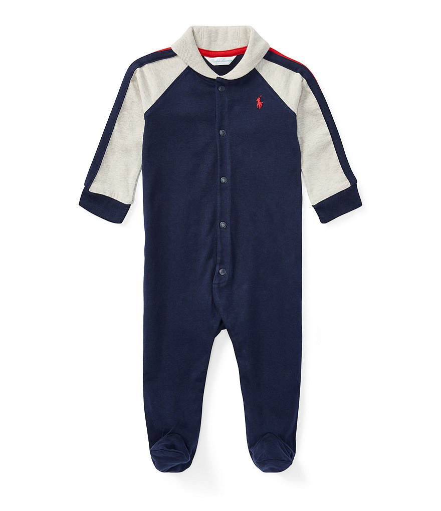 Ralph Lauren Childrenswear Baby Boys Newborn-9 Months Shawl Collar Footed Coverall