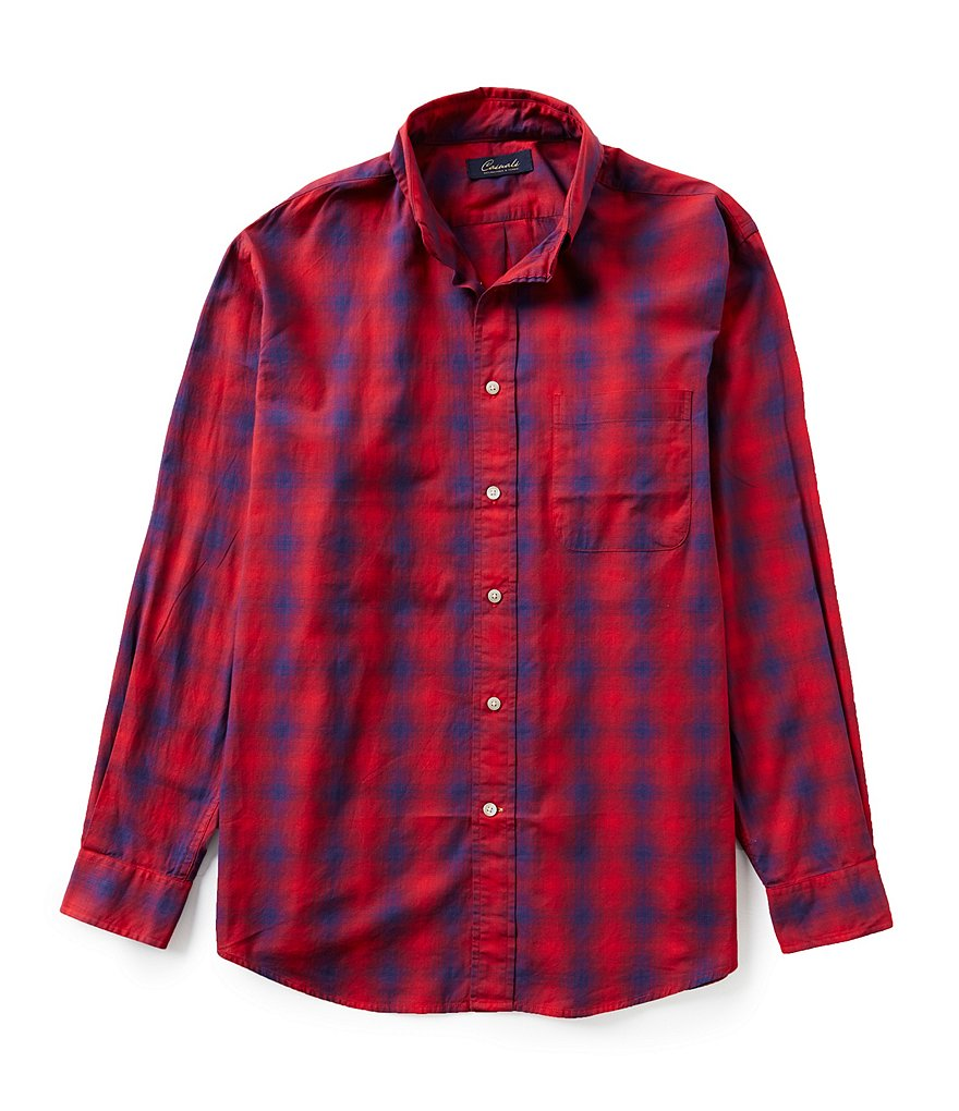Roundtree & Yorke Casuals Long-Sleeve Ombre Plaid Button-Down Collar Sportshirt