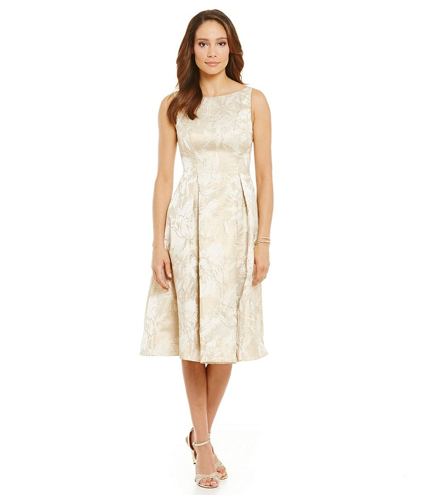 Aidan Mattox Metallic Tea-Length Cocktail Dress