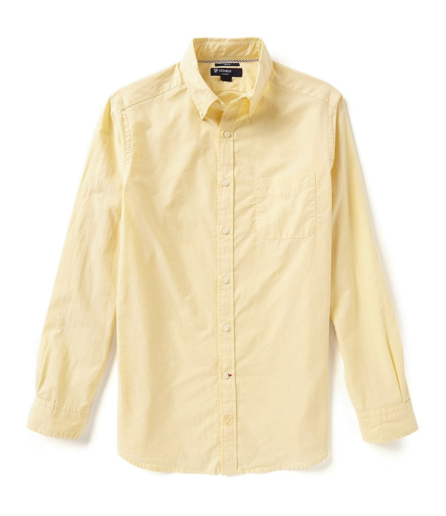 Cremieux Long-Sleeve Slim-Fit Spread Collar Solid Woven Shirt