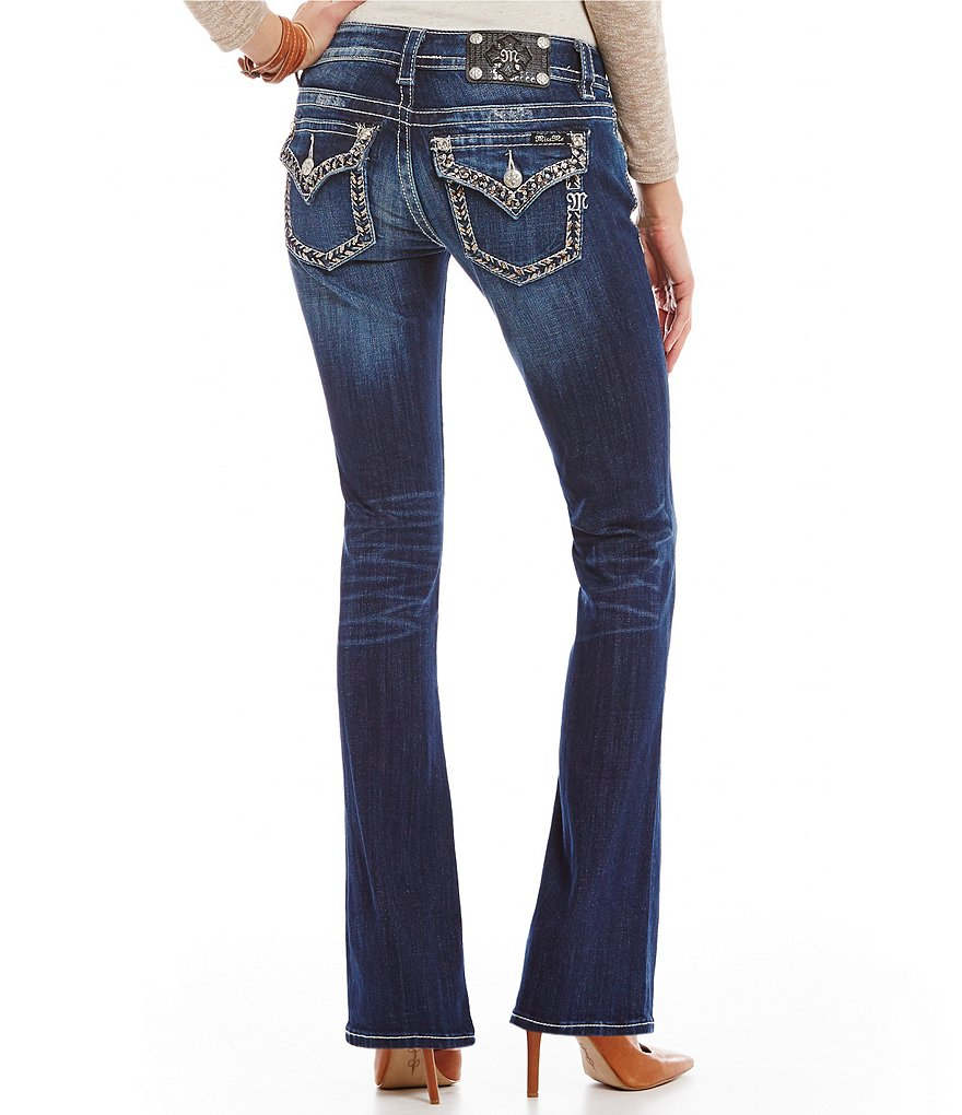 Miss Me Thick-Stitch Distressed Bootcut Jeans