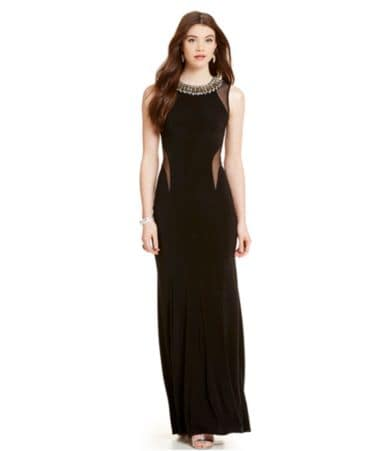 eef24792919 B. Darlin Beaded Neck Illusion Cut-Out Gown