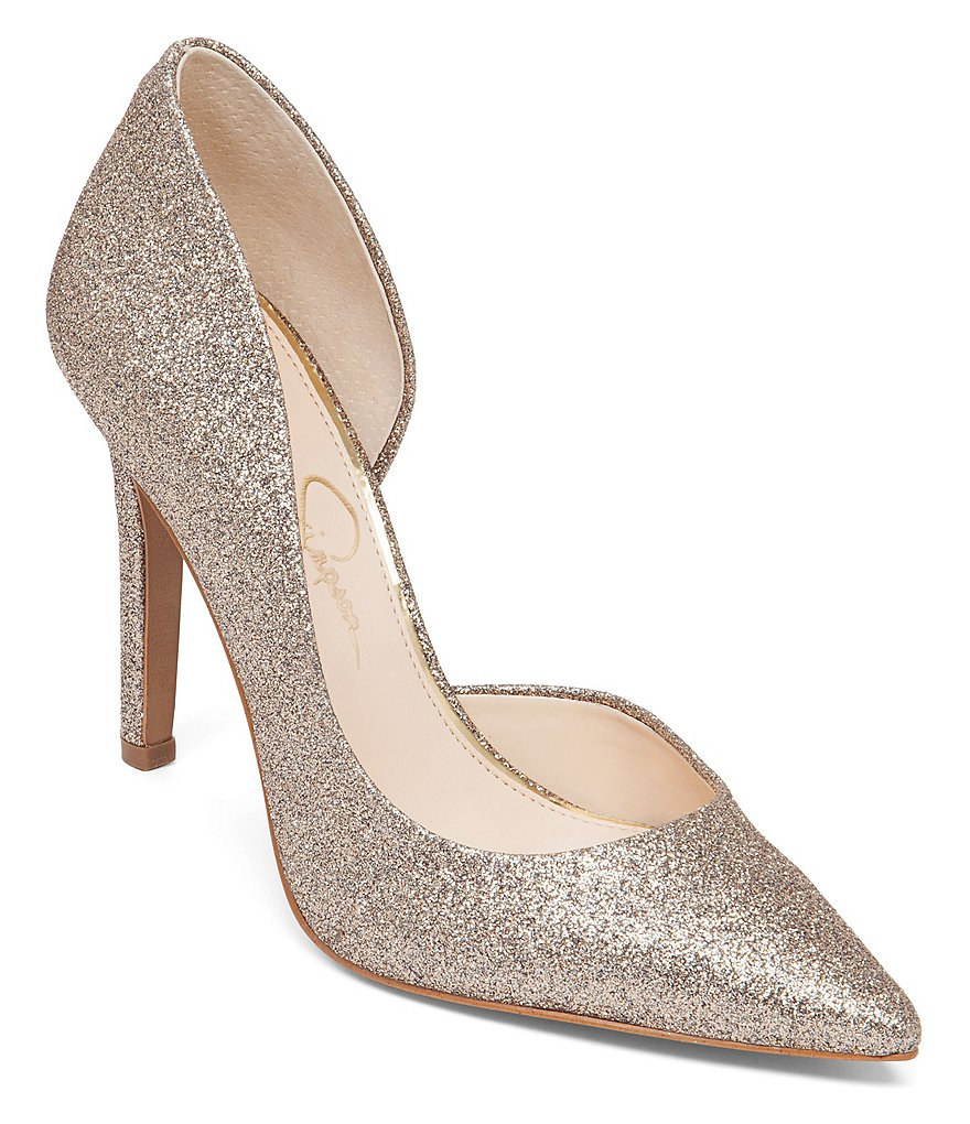 Jessica Simpson Claudette Glitter Pointed-Toe d´Orsay Pumps