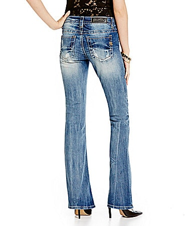 Miss Me Distressed Button-Front Bootcut Jeans