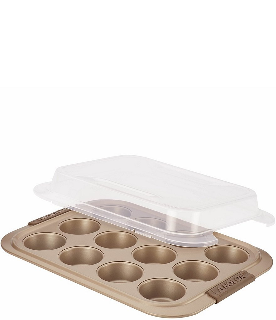 Anolon Advanced Bronze Nonstick 12-Cup Muffin Pan with Silicone Grips