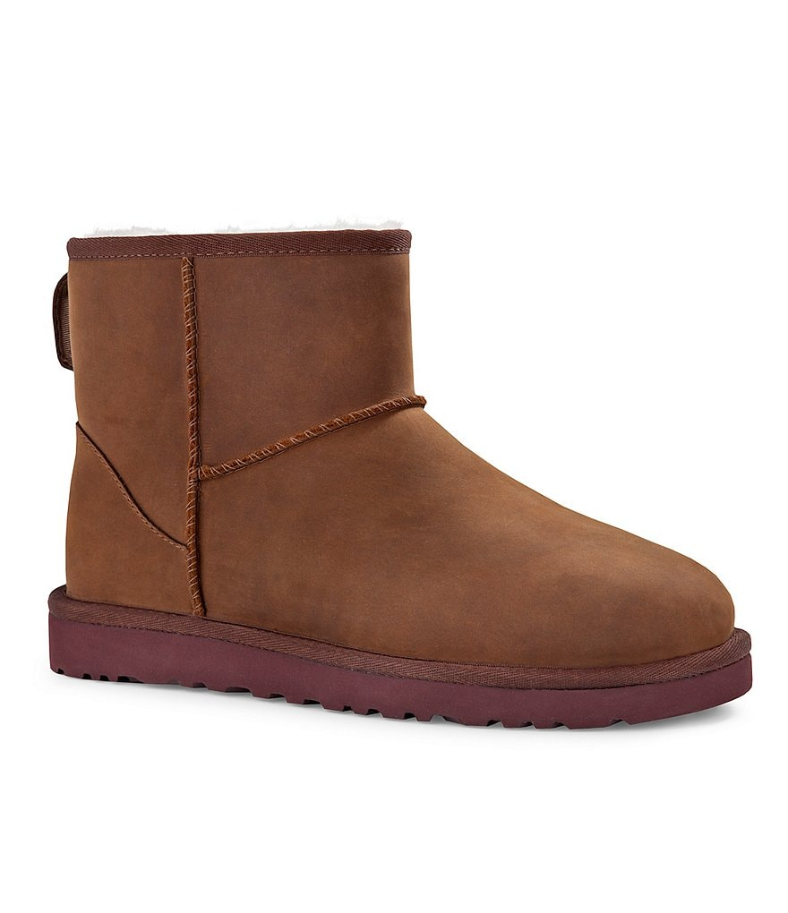 UGG® Classic Mini Whip-Stitch Detail Water-Resistant Leather Booties