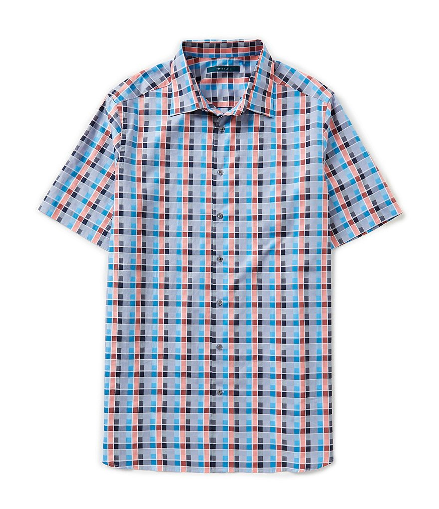Perry Ellis Big & Tall Short-Sleeve Check Woven Shirt