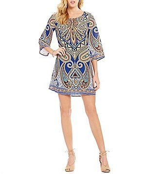 Pink Owl Mirrored Abstract Print Bar Back Shift Dress