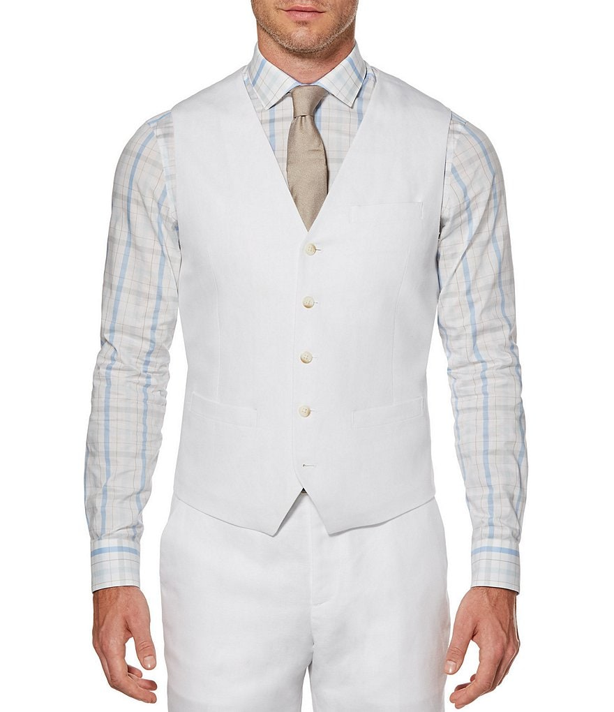 Perry Ellis Solid Linen Vest