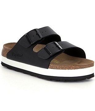 Birkenstock Arizona Leather Double Banded Buckle Platform Sandals