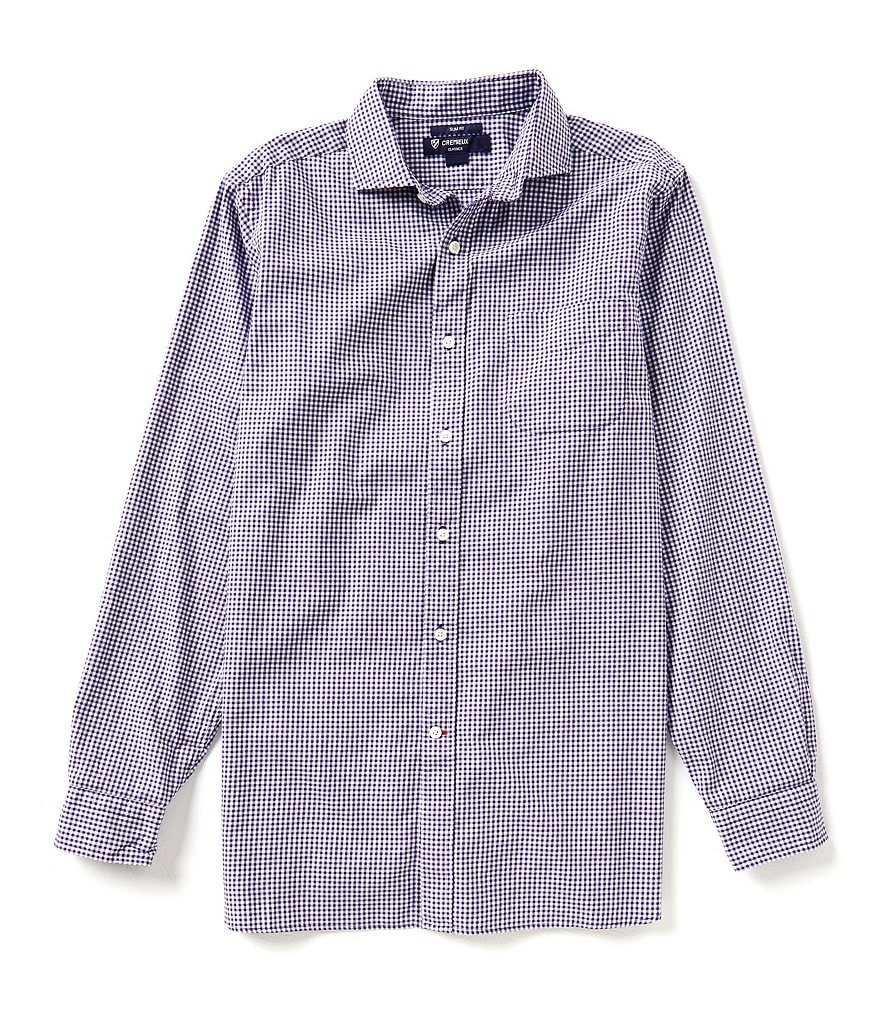 Cremieux Long-Sleeve Slim-Fit Gingham Check Woven Shirt