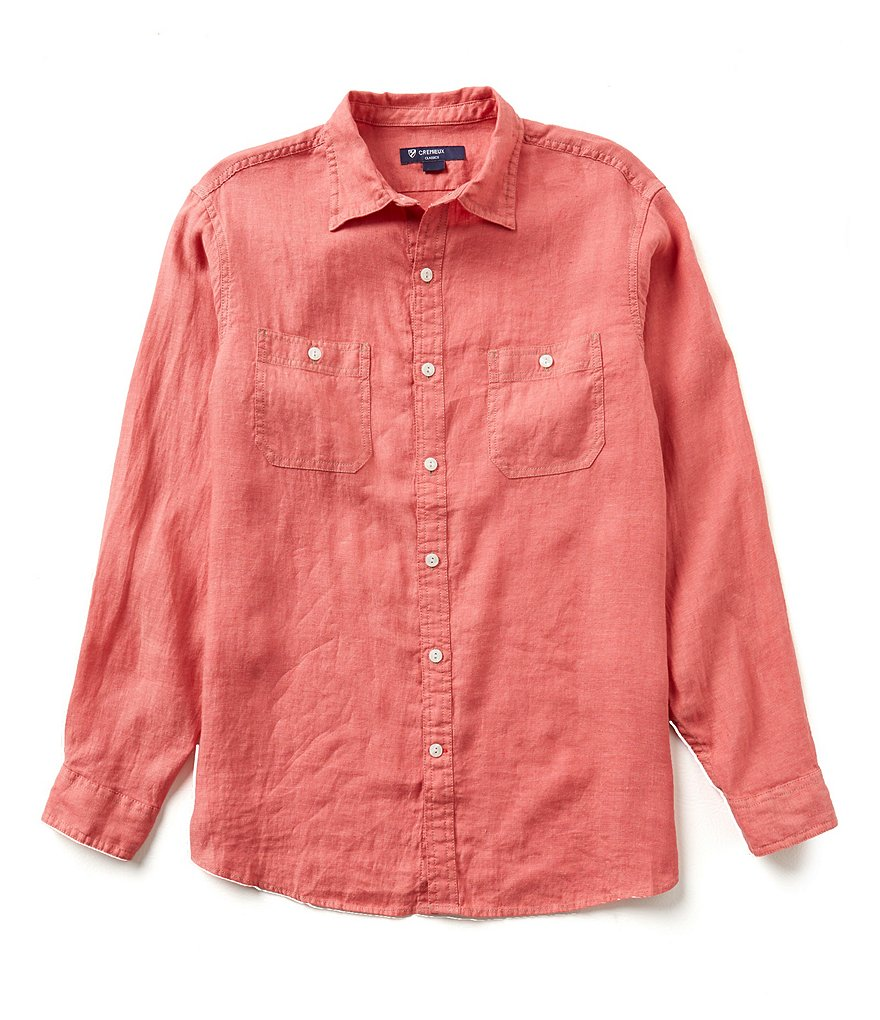 Cremieux Long-Sleeve Solid Linen Hunter Woven Shirt