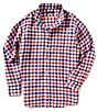 Color:Red - Image 1 - Cremieux Long-Sleeve Large Check Linen Shirt