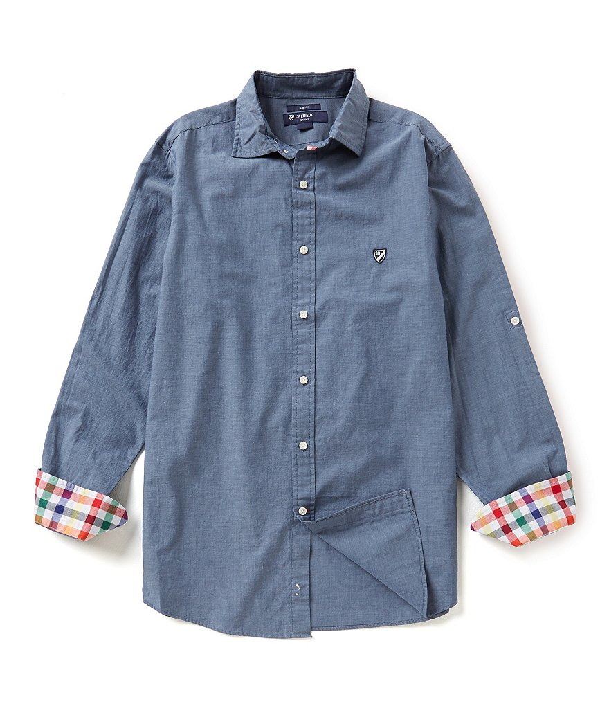 Cremieux Long-Sleeve Slim-Fit Chambray Solid Woven Shirt
