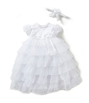 Edgehill Collection Baby Girls 3-9 Months Christening Organza Tier Chiffon Dress