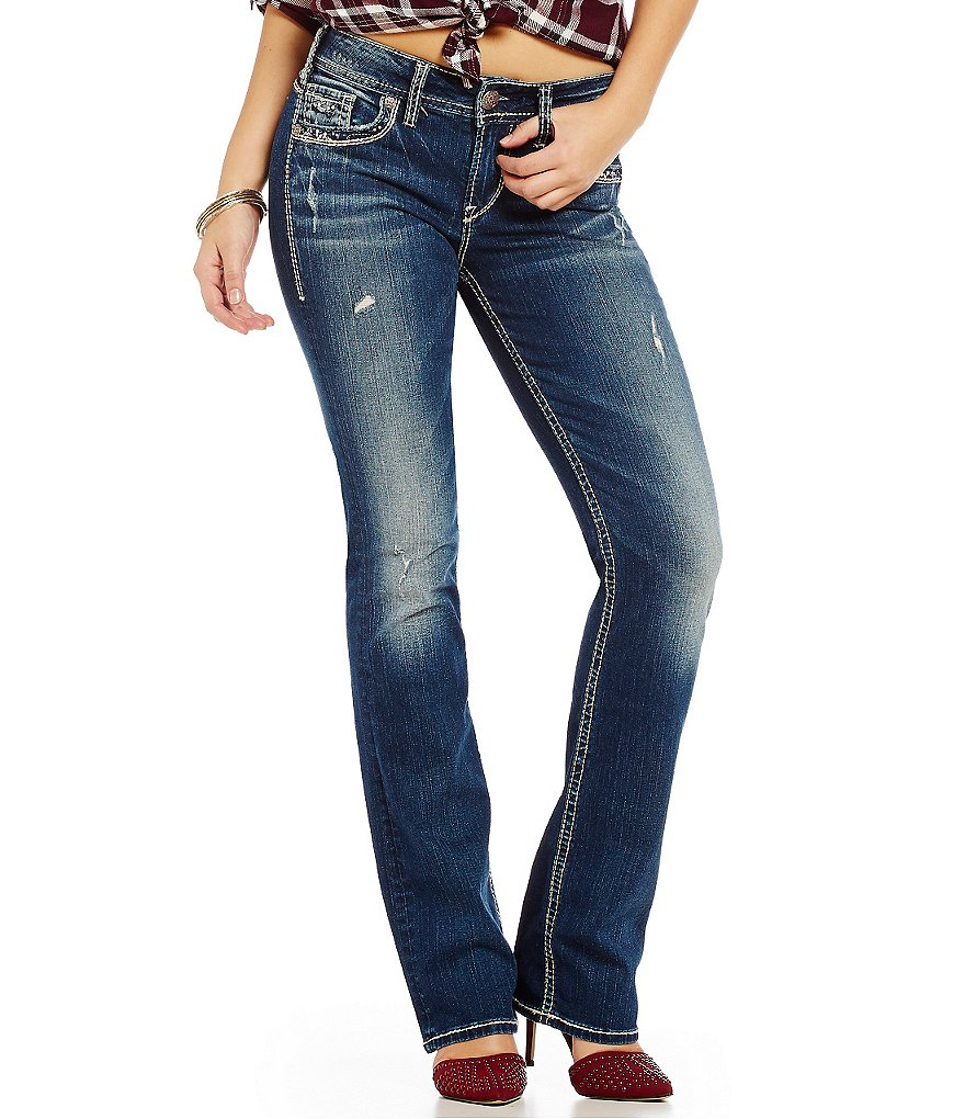 Silver Jeans Co. Suki Mid-Rise Slim Bootcut Distressed Jeans