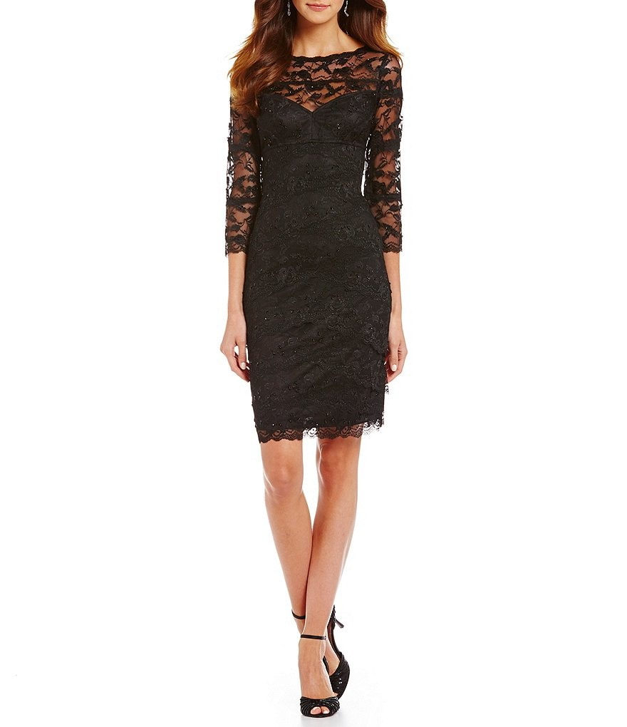 Marina Beaded Lace Sheath Dress