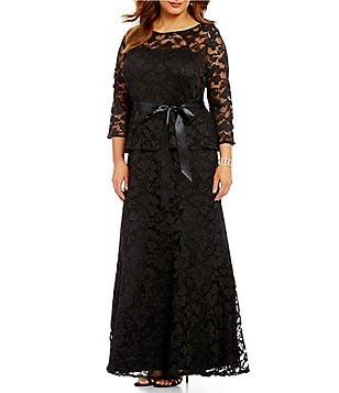 Leslie Fay Plus Long Peplum Lace Dress