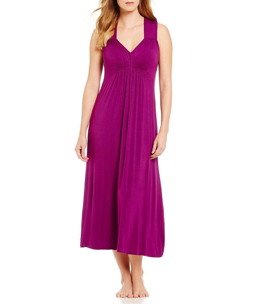 Oscar de la Renta Pink Label Shirred Nightgown